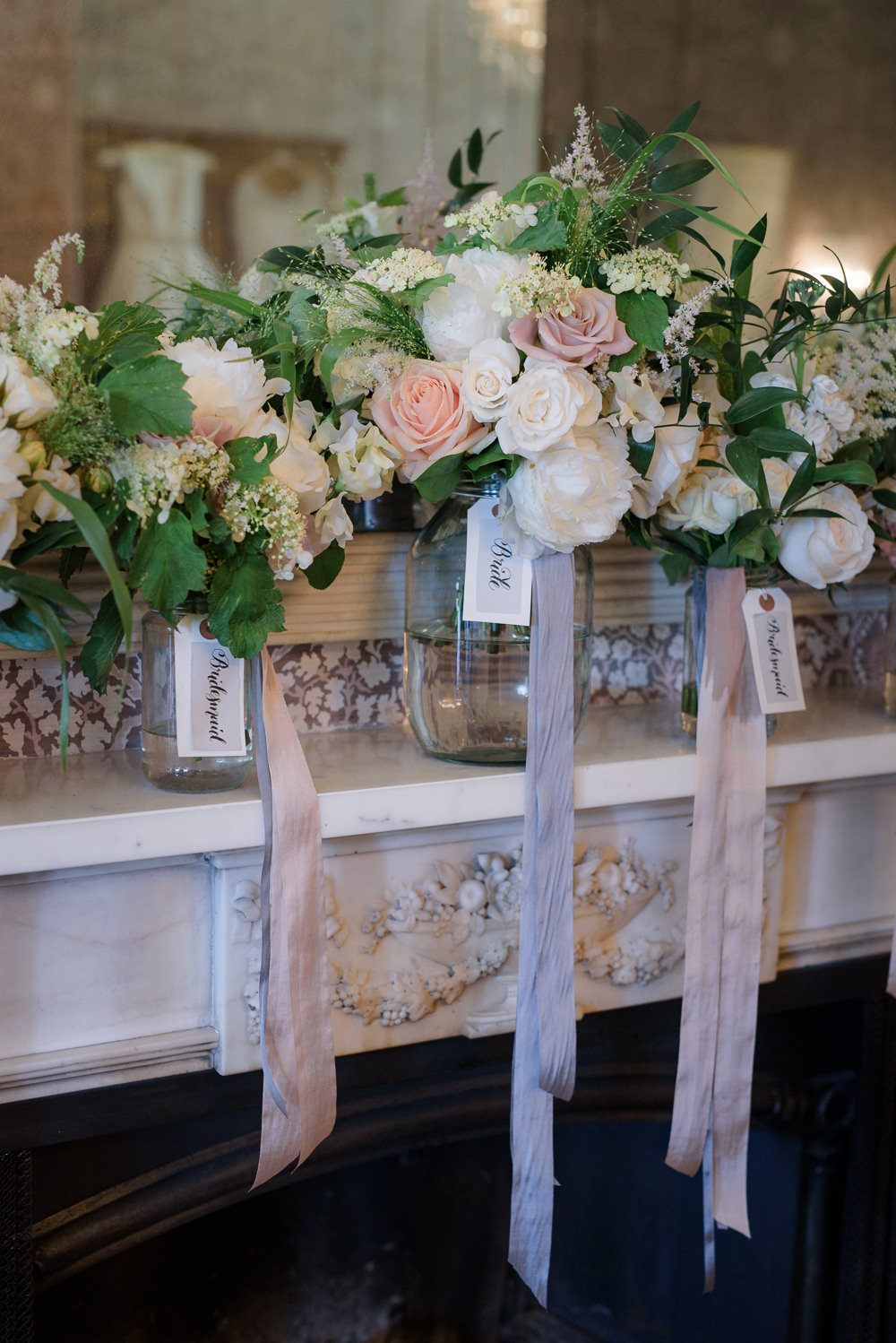 Bouquets Bride Bridal Bridesmaids Blush Roses Greenery Ribbons Silk Babington House Wedding Ria Mishaal Photography