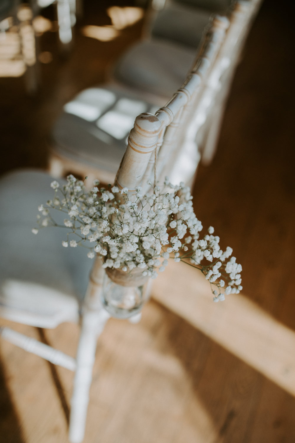 Gypsophila Flowers Jar Pew End Chairs Aisle Barn Upcote Wedding Siobhan Beales Photography