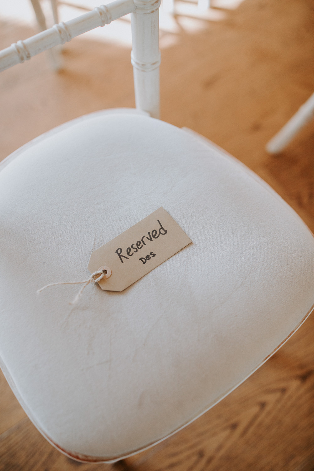 Reserved Seat Tag Luggage Ceremony Barn Upcote Wedding Siobhan Beales Photography