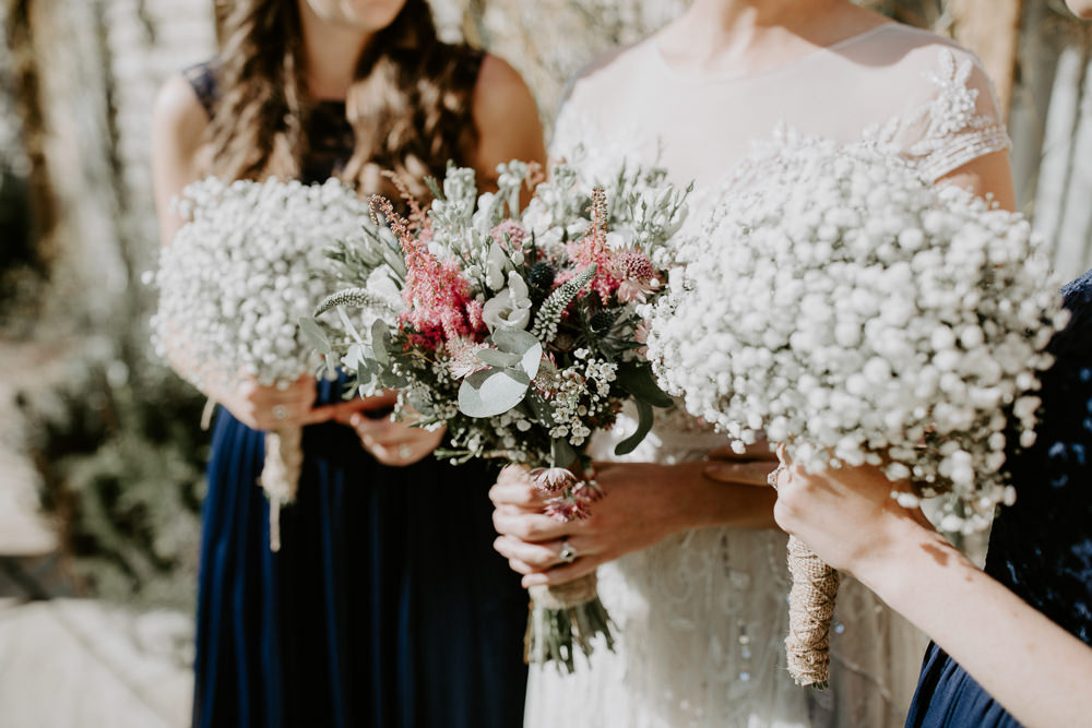 Bridesmaids Gypsophila Bouquet Flowers Bride Bridal Pink Greenery Foliage Astilbe Hessian Twine Wax Barn Upcote Wedding Siobhan Beales Photography