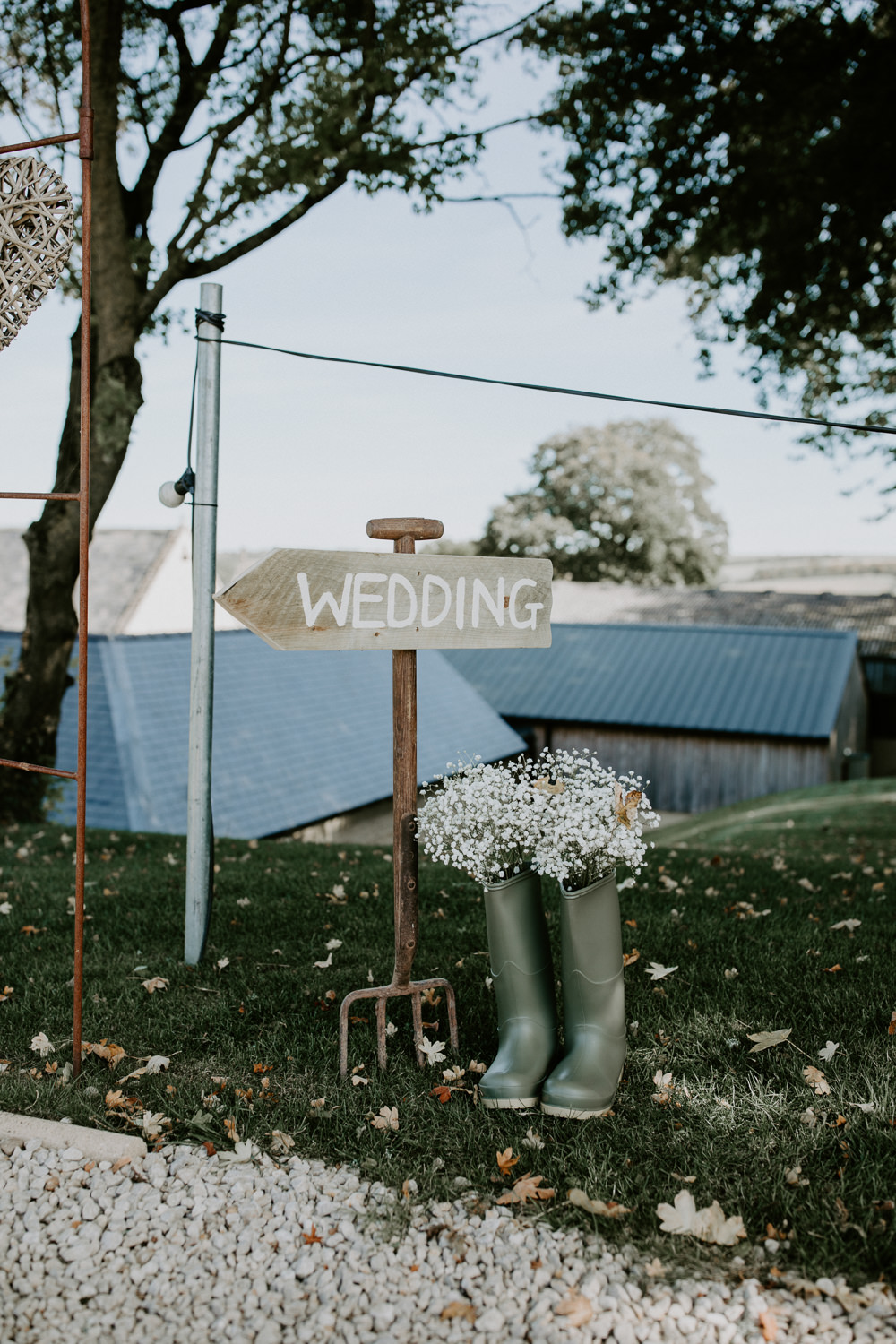 Wooden Sign Signage Garden Fork Welly Flowers Barn Upcote Wedding Siobhan Beales Photography