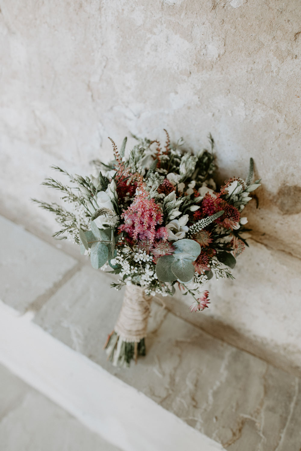 Bouquet Flowers Bride Bridal Pink Greenery Foliage Astilbe Hessian Twine Wax Barn Upcote Wedding Siobhan Beales Photography