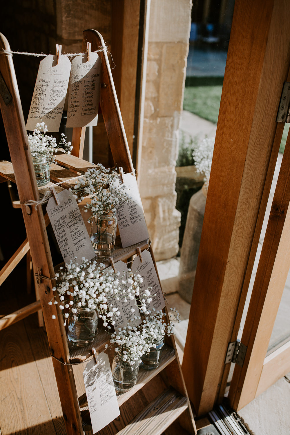 Wooden Ladder Seating Plan Table Chart Gypsophila Barn Upcote Wedding Siobhan Beales Photography