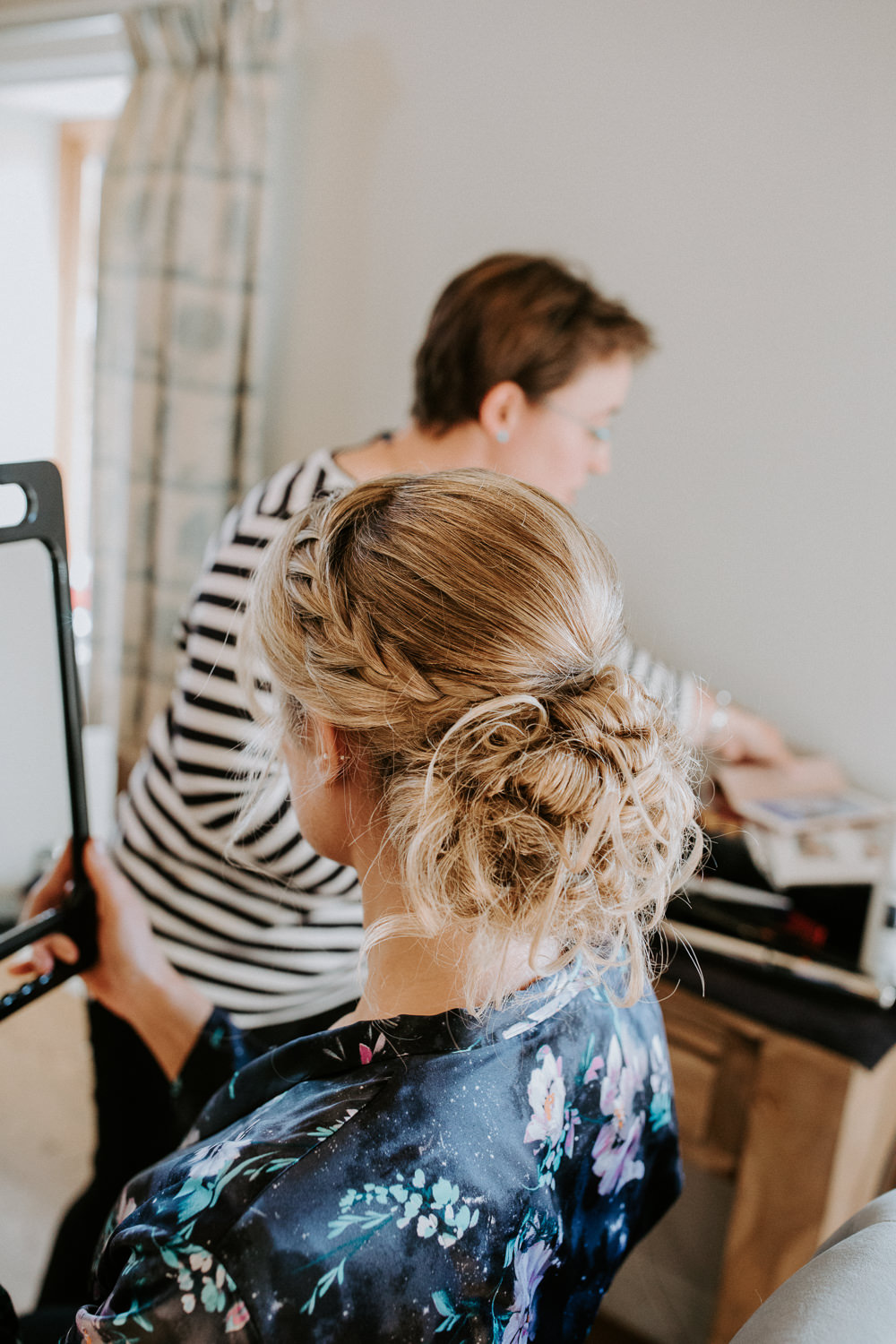 Hair Bride Bridal Up Do Style Plait Braid Messy Bun Barn Upcote Wedding Siobhan Beales Photography