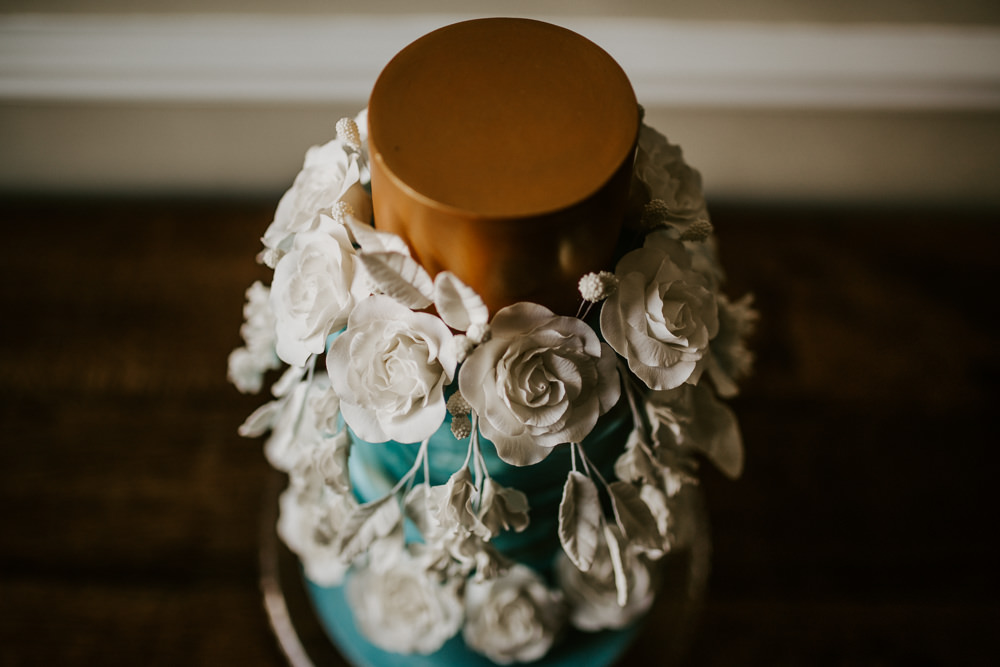 Cake Gold Flowers Tier Blue Rich Romantic Wedding Ideas Daze of Glory Photography Catherine Spiller Photography