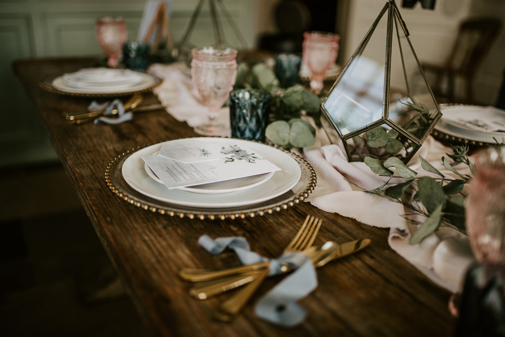 Tablescape Table Decor Terrariums Succulents Glasses Silk Runner Charger Plates Blue Rich Romantic Wedding Ideas Daze of Glory Photography Catherine Spiller Photography
