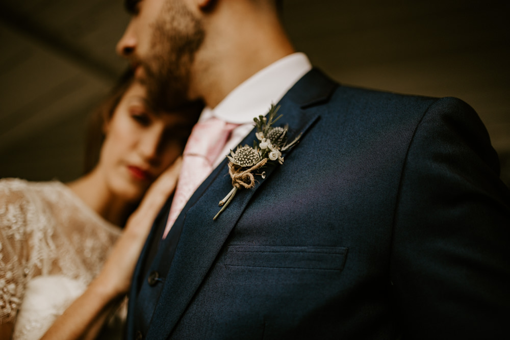 Thistle Groom Buttonhole Flowers Blue Rich Romantic Wedding Ideas Daze of Glory Photography Catherine Spiller Photography