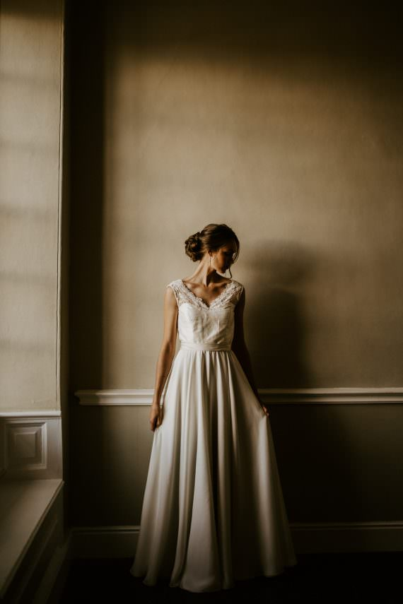 Dress Bride Bridal Gown Bow Back Lace Blue Rich Romantic Wedding Ideas Daze of Glory Photography Catherine Spiller Photography