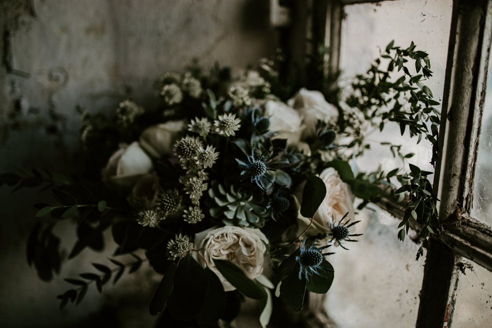 Bouquet Flowers Bride Bridal Thistle Rose Greenery Foliage Ribbon Velvet Blue Rich Romantic Wedding Ideas Daze of Glory Photography Catherine Spiller Photography