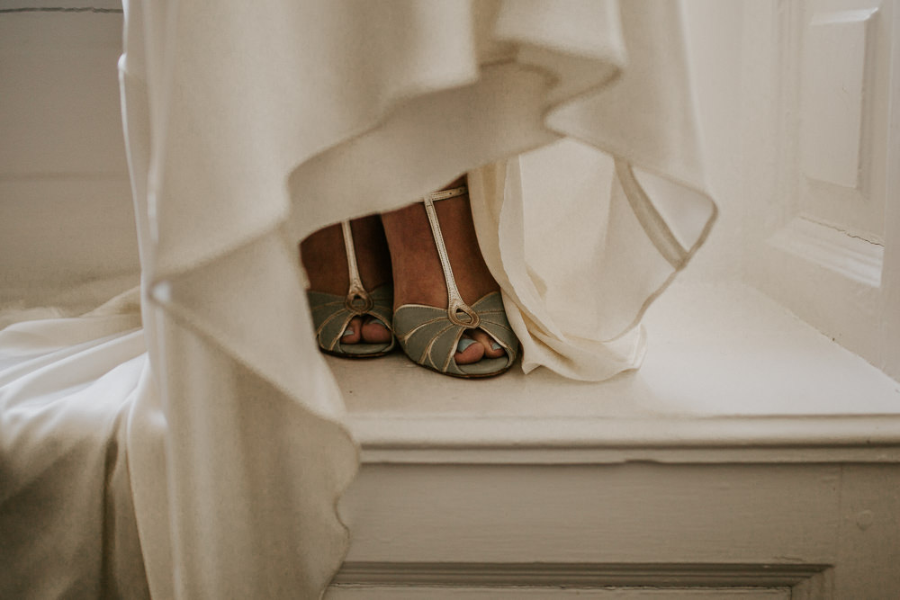 Blue Peep Toe Shoes Bride Bridal Blue Rich Romantic Wedding Ideas Daze of Glory Photography Catherine Spiller Photography