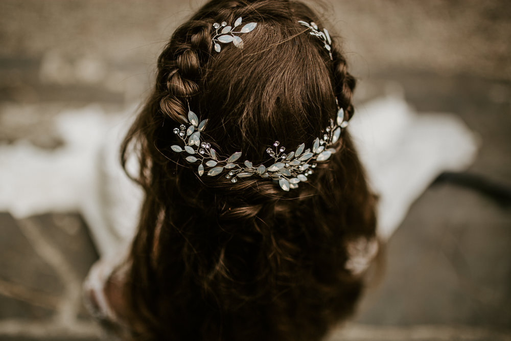 Hair Bride Bridal Style Up Do Plait Braid Halo Accessory Blue Rich Romantic Wedding Ideas Daze of Glory Photography Catherine Spiller Photography