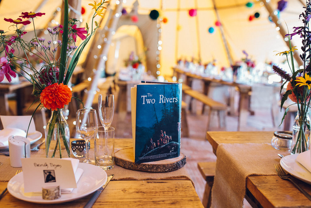 Book Table Name Decor Centrepiece Bright Camp Festival Wedding Chloe Lee Photography
