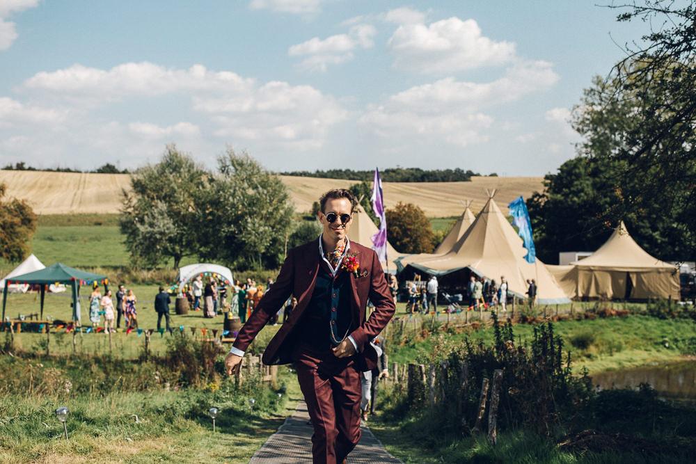 Groom Suit Burgundy Neck Scarf Bright Camp Festival Wedding Chloe Lee Photography
