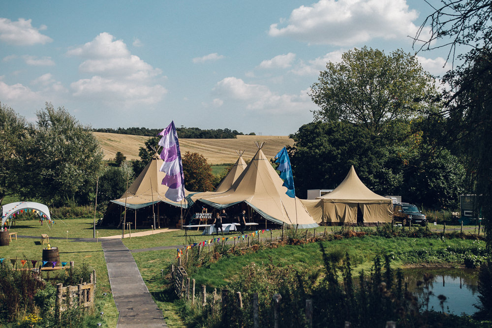 Tipi Tents Set Up Bright Camp Festival Wedding Chloe Lee Photography