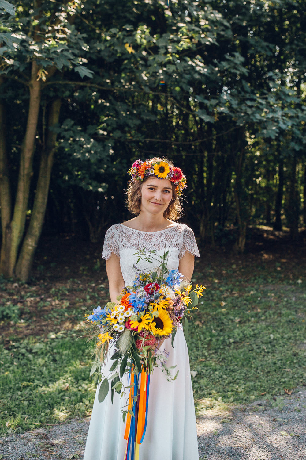 Bride Bridal Flowers Colourful Bouquet Flower Crown Bright Camp Festival Wedding Chloe Lee Photography