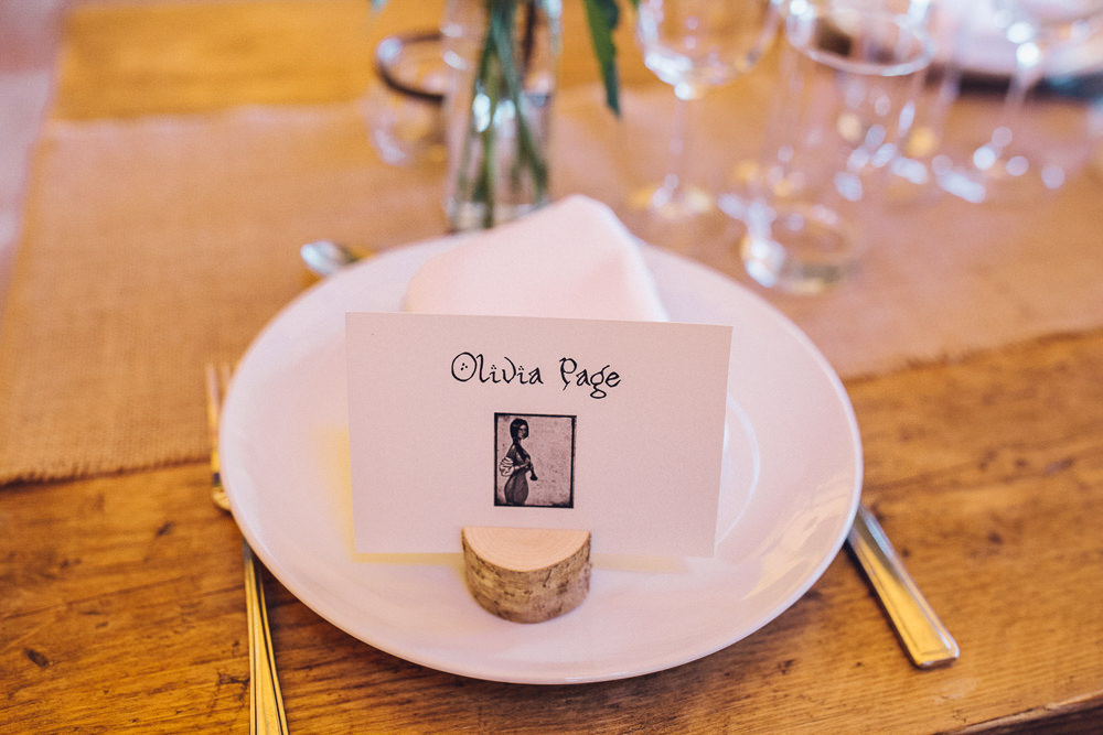 Place Name Card Log Slice Bright Camp Festival Wedding Chloe Lee Photography
