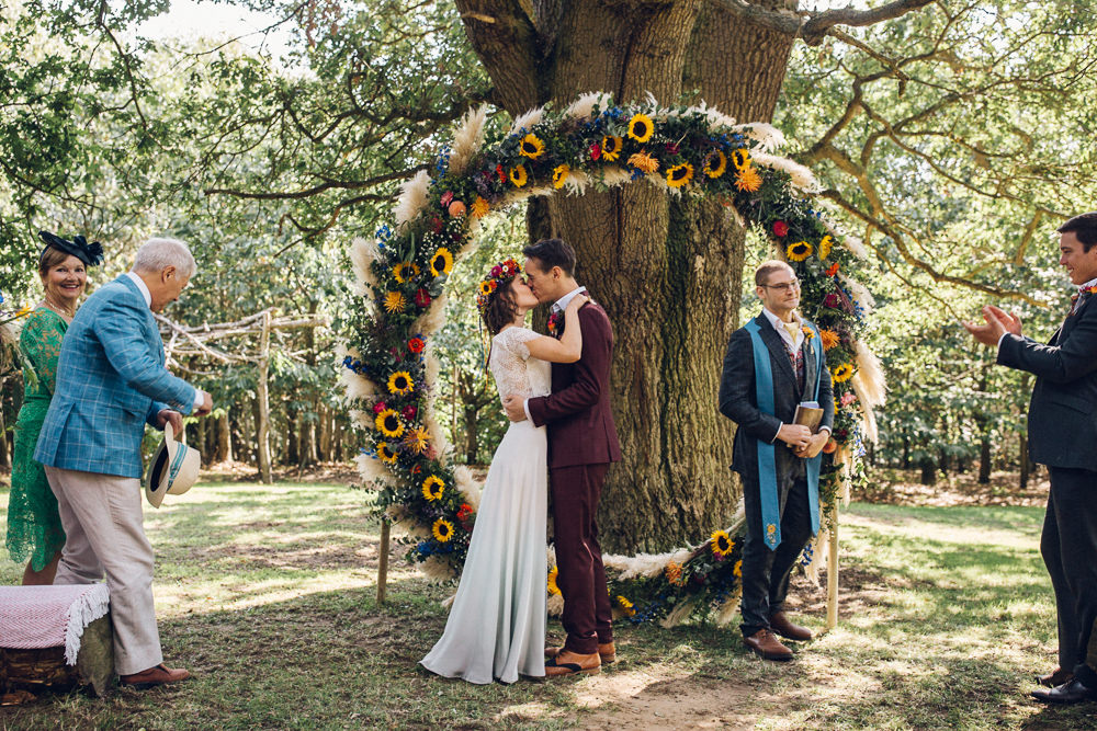 Ceremony Outdoor Tree Moon Gate Flower Arch Aisle Bright Camp Festival Wedding Chloe Lee Photography