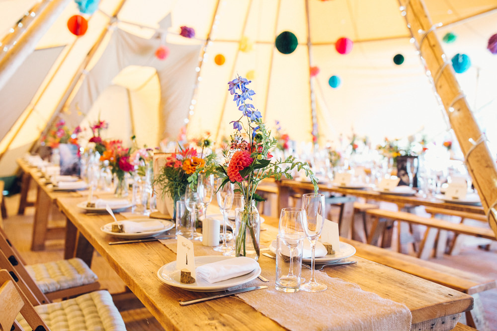 Tipi Colourful Decor Flowers Tables Bright Camp Festival Wedding Chloe Lee Photography