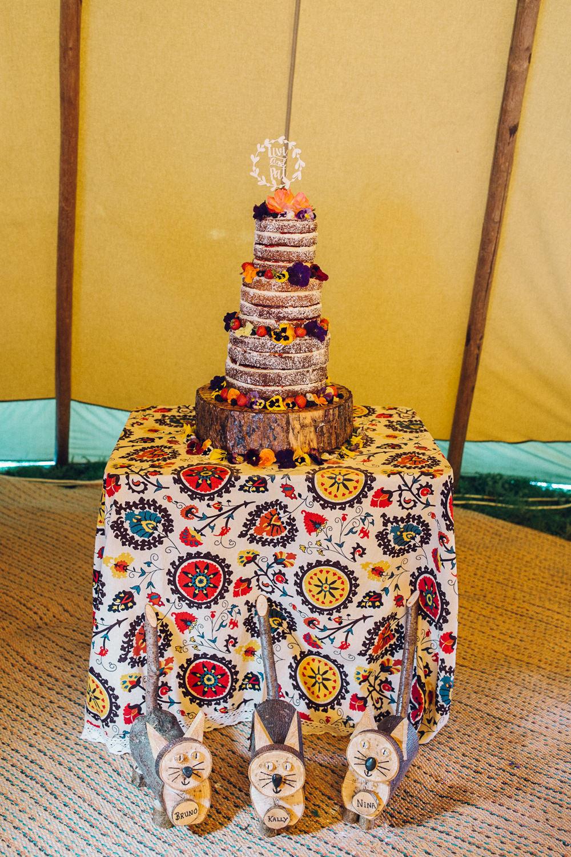 Naked Cake Log Slice Fruit Berries Topper Bright Camp Festival Wedding Chloe Lee Photography