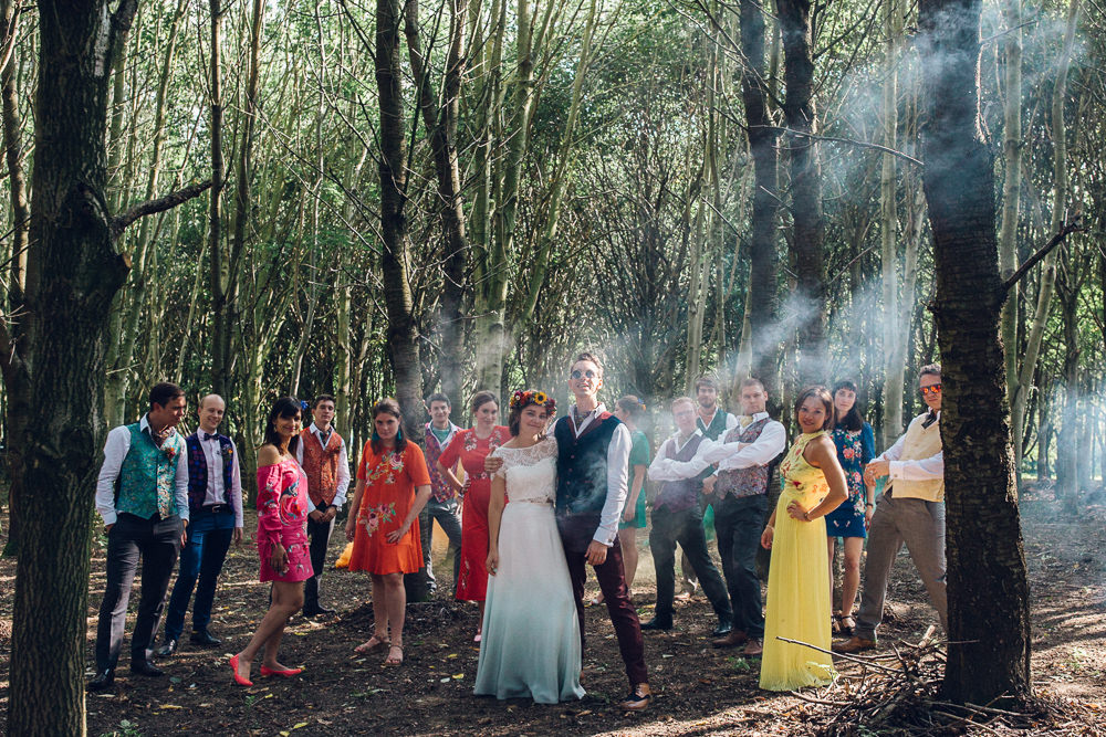 Smoke Bomb Portraits Photos Bright Camp Festival Wedding Chloe Lee Photography