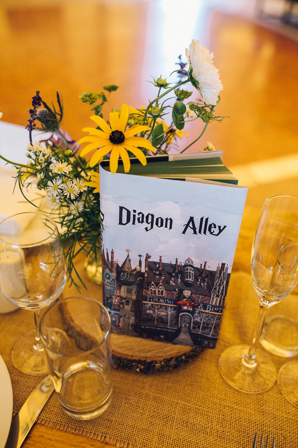 Harry Potter Book Table Name Decor Bright Camp Festival Wedding Chloe Lee Photography