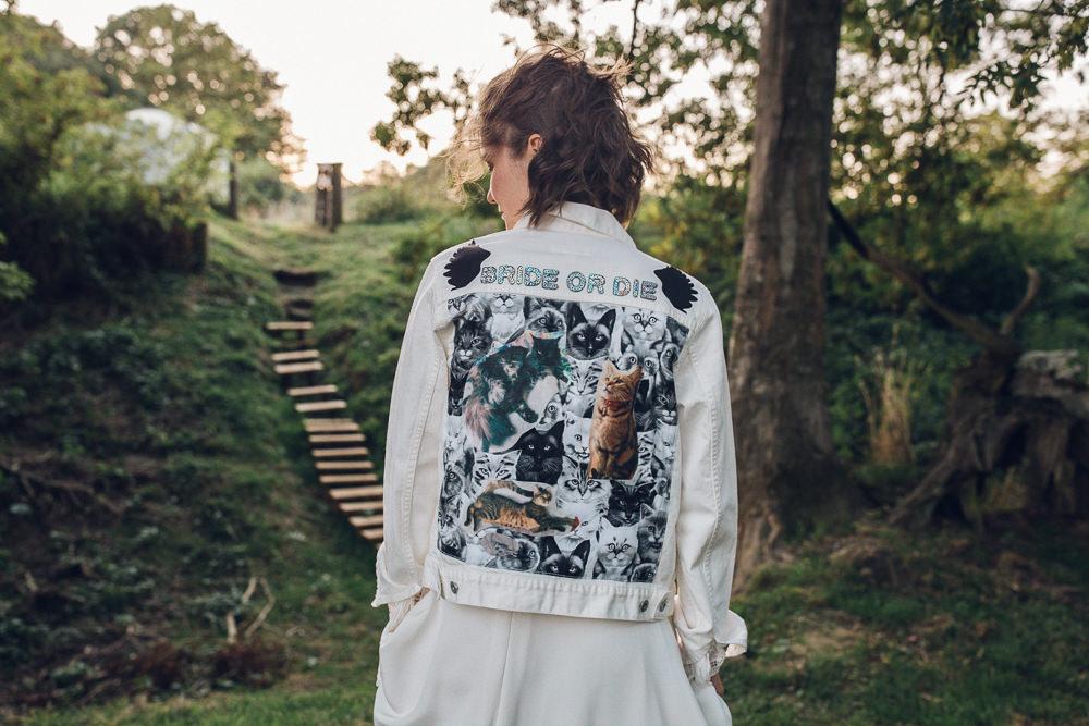 Bride Bridal Denim Patches Jacket Personalised Bright Camp Festival Wedding Chloe Lee Photography