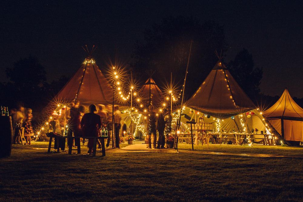 Tipi Lighting Fairy Lights Festoons Bright Camp Festival Wedding Chloe Lee Photography