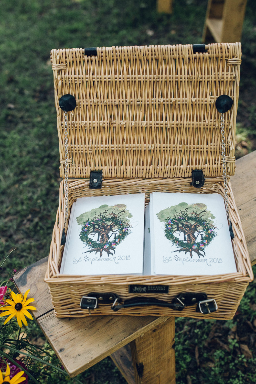 Basket Hamper Stationery Booklet Bright Camp Festival Wedding Chloe Lee Photography