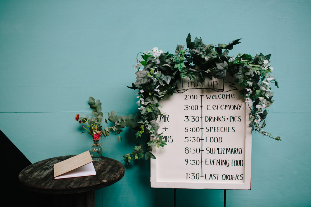 Plan of the Day Timeline Handwritten Greenery Foliage Constellations Liverpool Wedding Dan Hough Photo