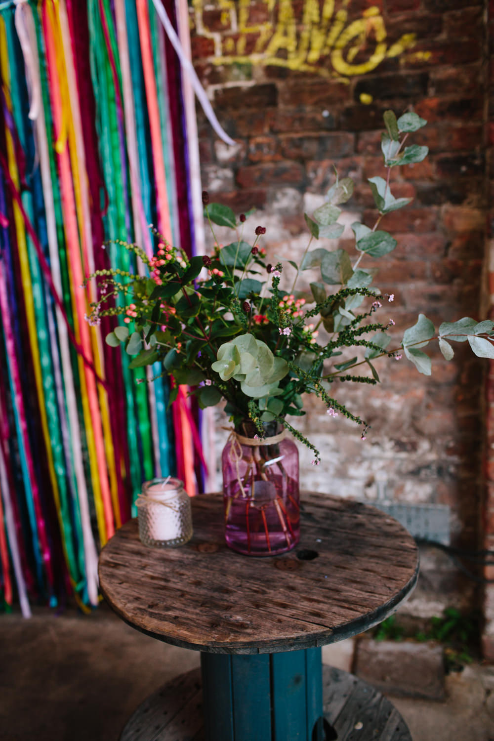Greenery Foliage Eucalyptus Pink Jar Berries Ribbon Backdrop Constellations Liverpool Wedding Dan Hough Photo