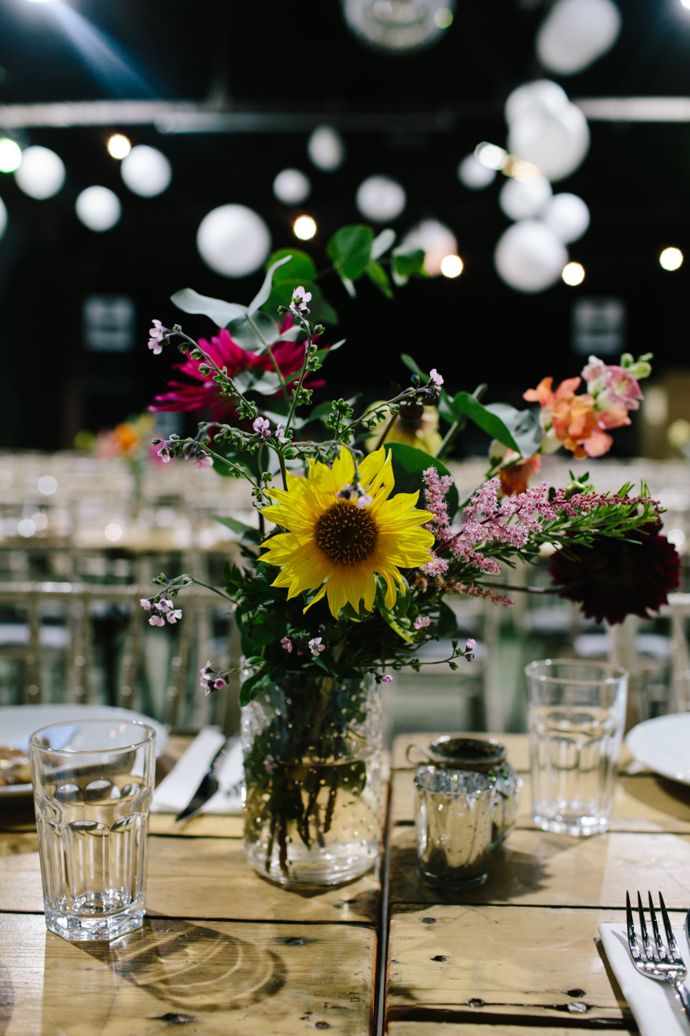 Multicoloured Colourful Flowers Florals Table Centre Constellations Liverpool Wedding Dan Hough Photo