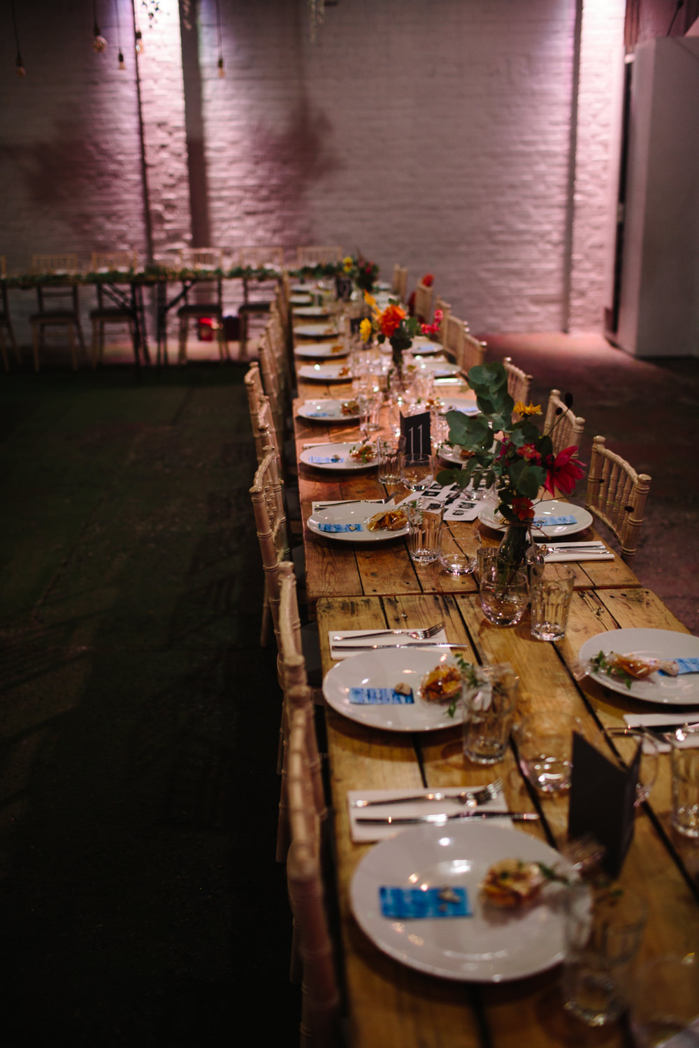 Rustic Table Banqueting Colourful Florals Constellations Liverpool Wedding Dan Hough Photo