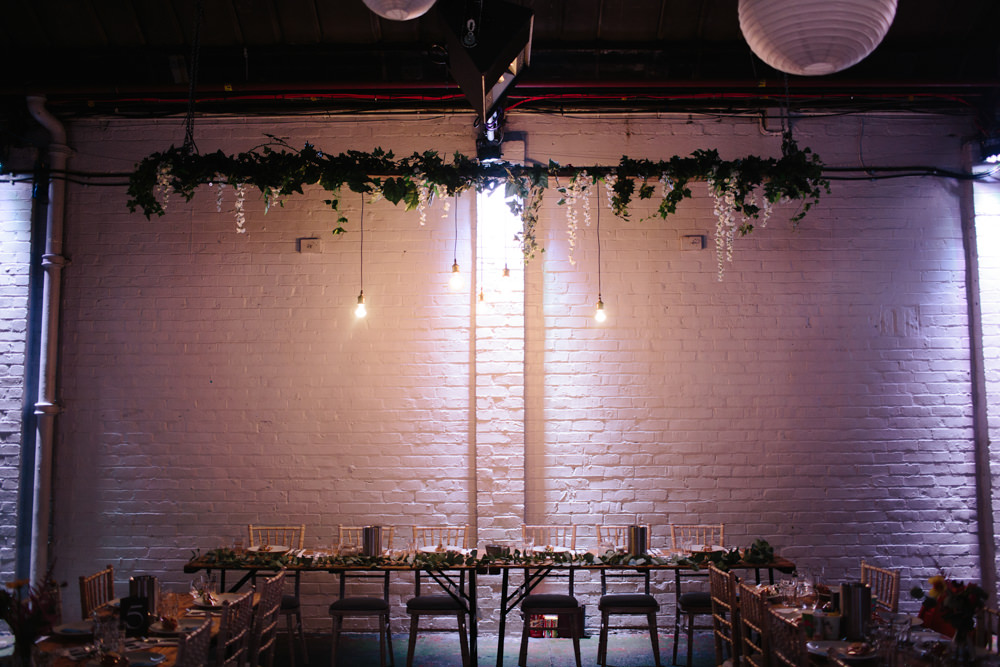 Top Table Foliage Edison Light Bulb Installation Constellations Liverpool Wedding Dan Hough Photo