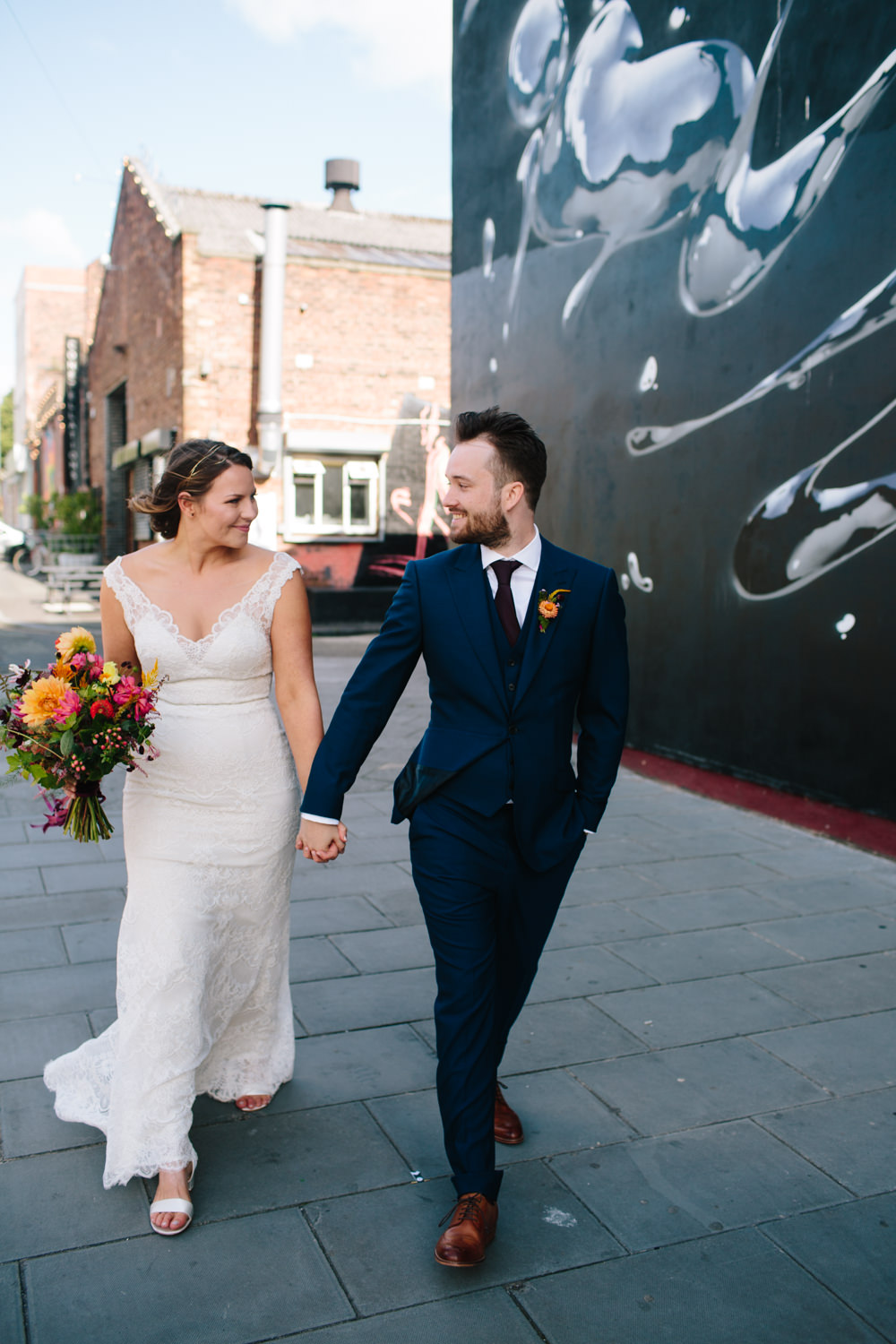 Bride Bridal Watters Lace Sleeveless Dress Gown Navy Suit Groom Colourful Multicoloured Bouquet Constellations Liverpool Wedding Dan Hough Photo