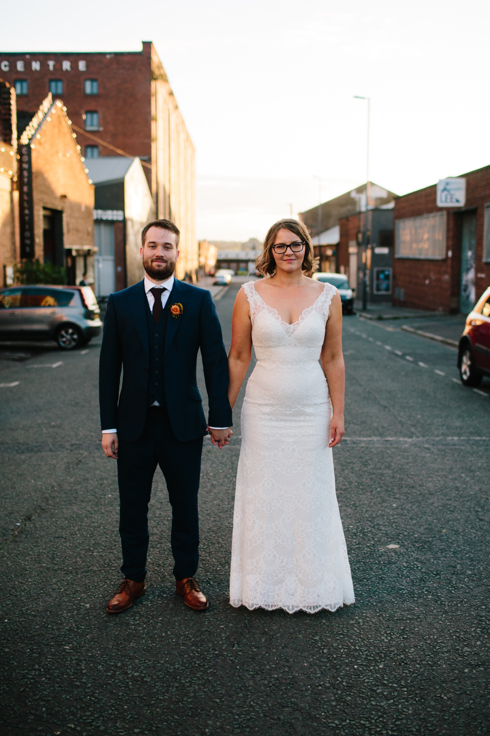 Bride Bridal Watters Lace Sleeveless Dress Gown Navy Suit Groom Glasses Constellations Liverpool Wedding Dan Hough Photo