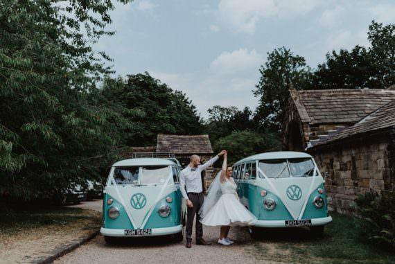 VW Campervan Transport Cute Rainbow Wedding Stevie Jay Photography