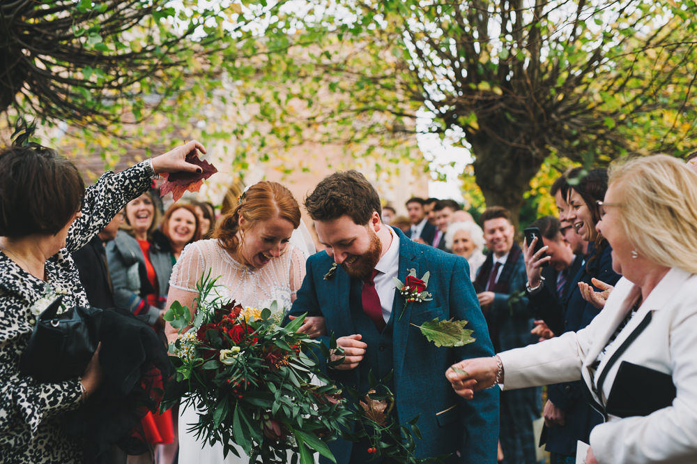Bride Bridal Jenny Packham Beaded Dress Gown Three Piece Suit Groom Burgundy Tie Cascading Bouquet Hazel Gap Wedding Maree Frances Photography