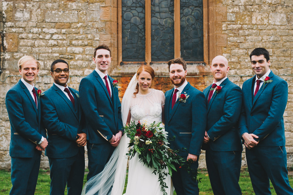 Bride Bridal Jenny Packham Beaded Dress Gown Three Piece Suit Groom Burgundy Tie Cascading Bouquet Groomsmen Hazel Gap Wedding Maree Frances Photography