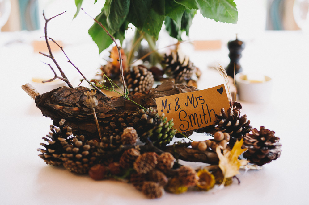 Log Wooden Pine Cones Mr & Mrs Table Centre Hazel Gap Wedding Maree Frances Photography