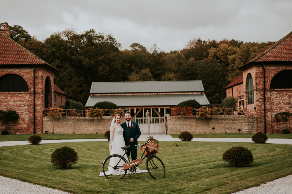 Bride Bridal Jenny Packham Beaded Dress Gown Three Piece Suit Groom Burgundy Tie Veil Welcome Bicycle Bike Hazel Gap Wedding Maree Frances Photography