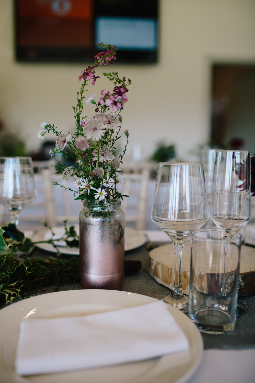Table Runner Decor Linen Greenery Ferns Copper Jar Hidden River Cabins Wedding Dan Hough Photo