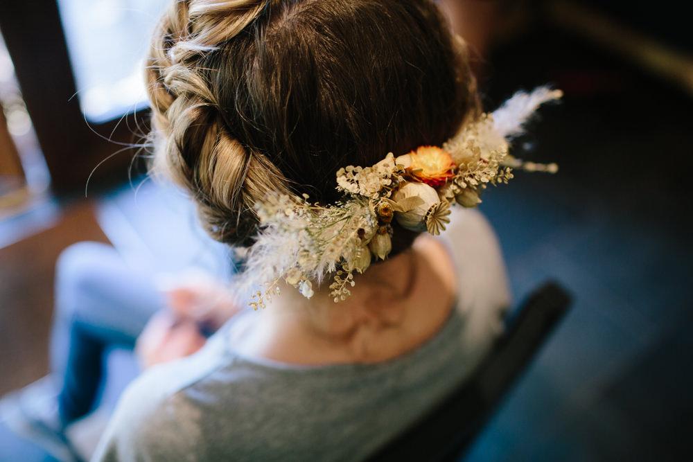 Hair Bride Bridal Style Up Do Flowers Grass Seeds Hidden River Cabins Wedding Dan Hough Photo