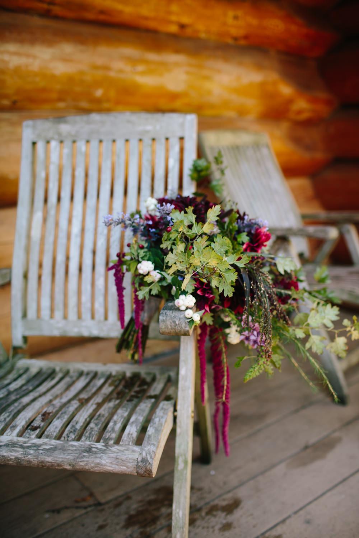 Bride Bridal Flowers Purple Berries Fern Dahlia Red Trailing Amaranthus Bouquet Hidden River Cabins Wedding Dan Hough Photo