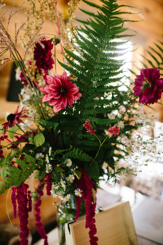 Table Flowers Decor Fern Dahlia Red Trailing Amaranthus Hidden River Cabins Wedding Dan Hough Photo