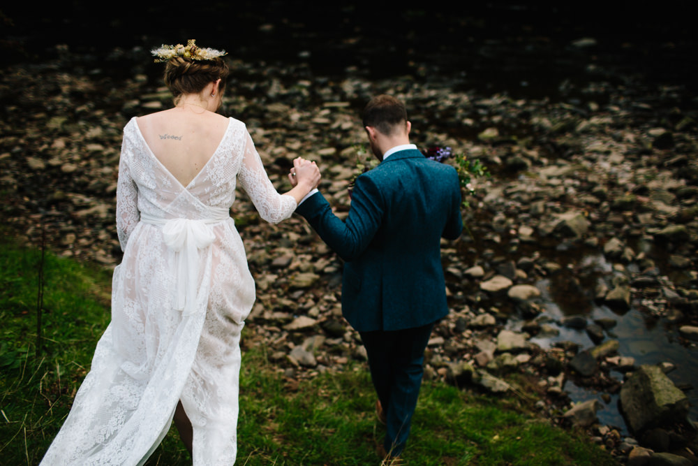 Bride Bridal Dress Gown Bow Back Sadoni Couture Lace Boat Neck Sleeves Hidden River Cabins Wedding Dan Hough Photo