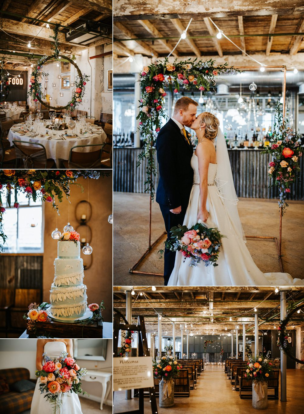 Industrial Mill Wedding with Spectacular Florals & Feathers Emilie May Photography