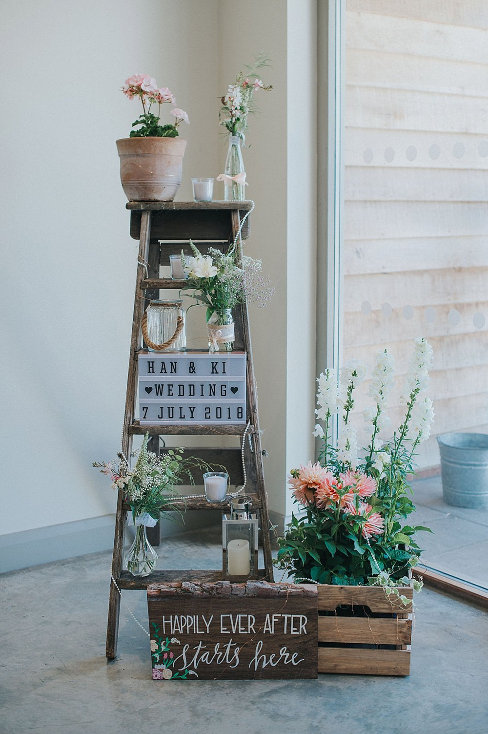 Wooden Crates Ladder Decor Flowers Houchins Farm Wedding Julia and You Photography