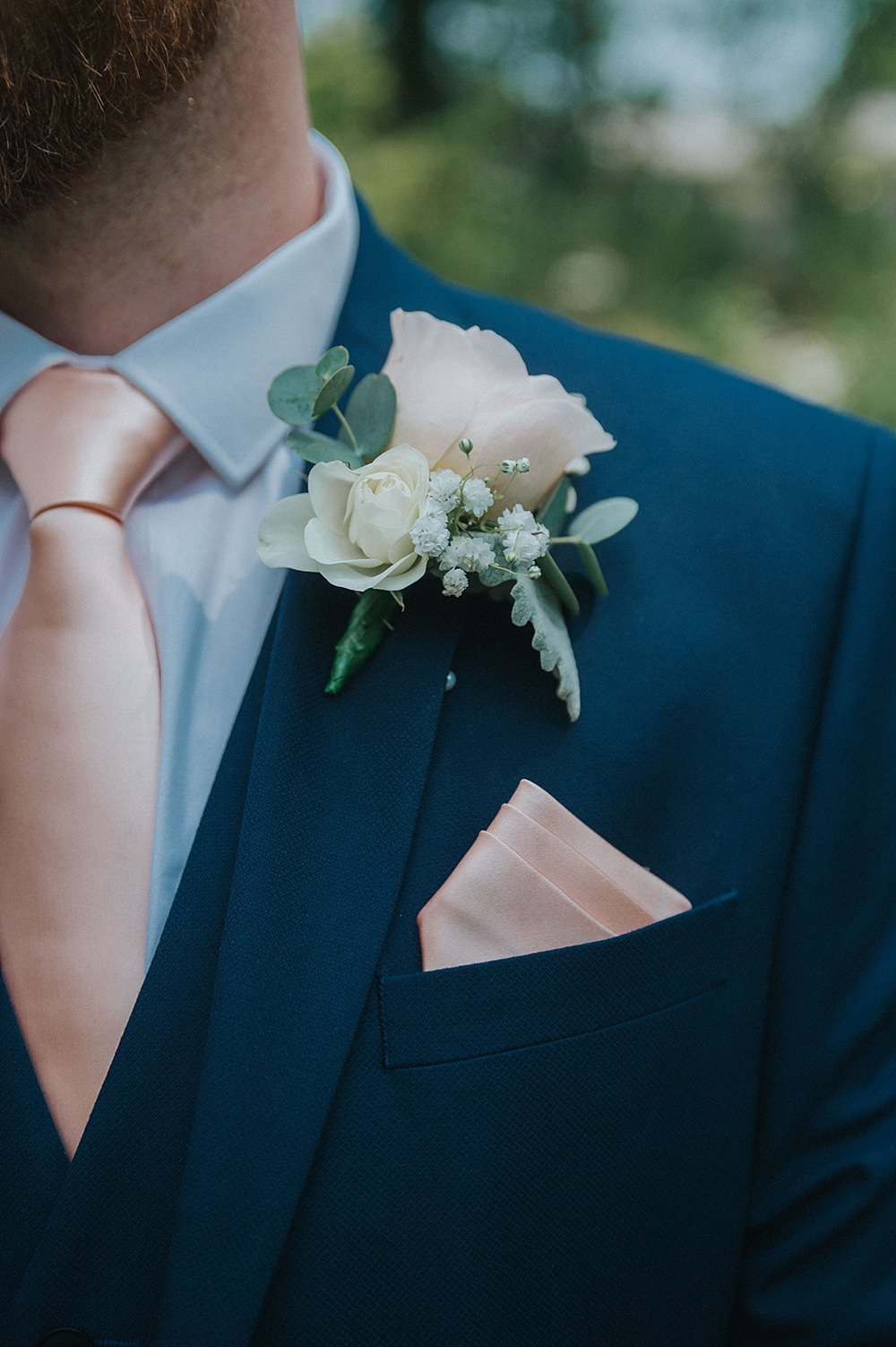 Groom Groomsmen Suit Peach Ties Buttonhole Flowers Houchins Farm Wedding Julia and You Photography