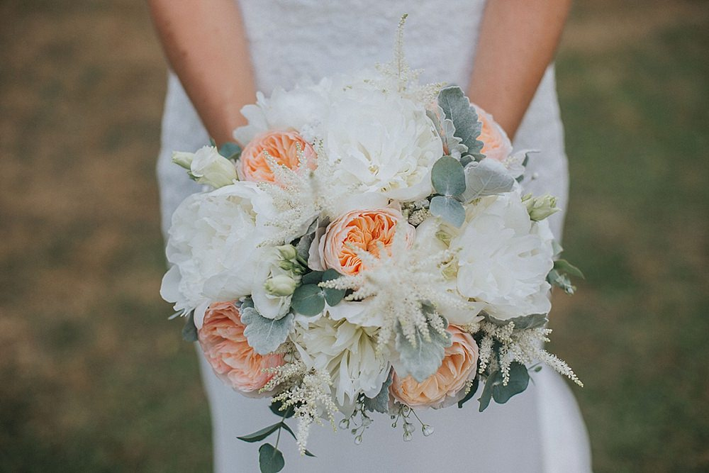Bouquet Flowers Bride Bridal Coral Peach Ivory Rose Peony Astilbe Houchins Farm Wedding Julia and You Photography