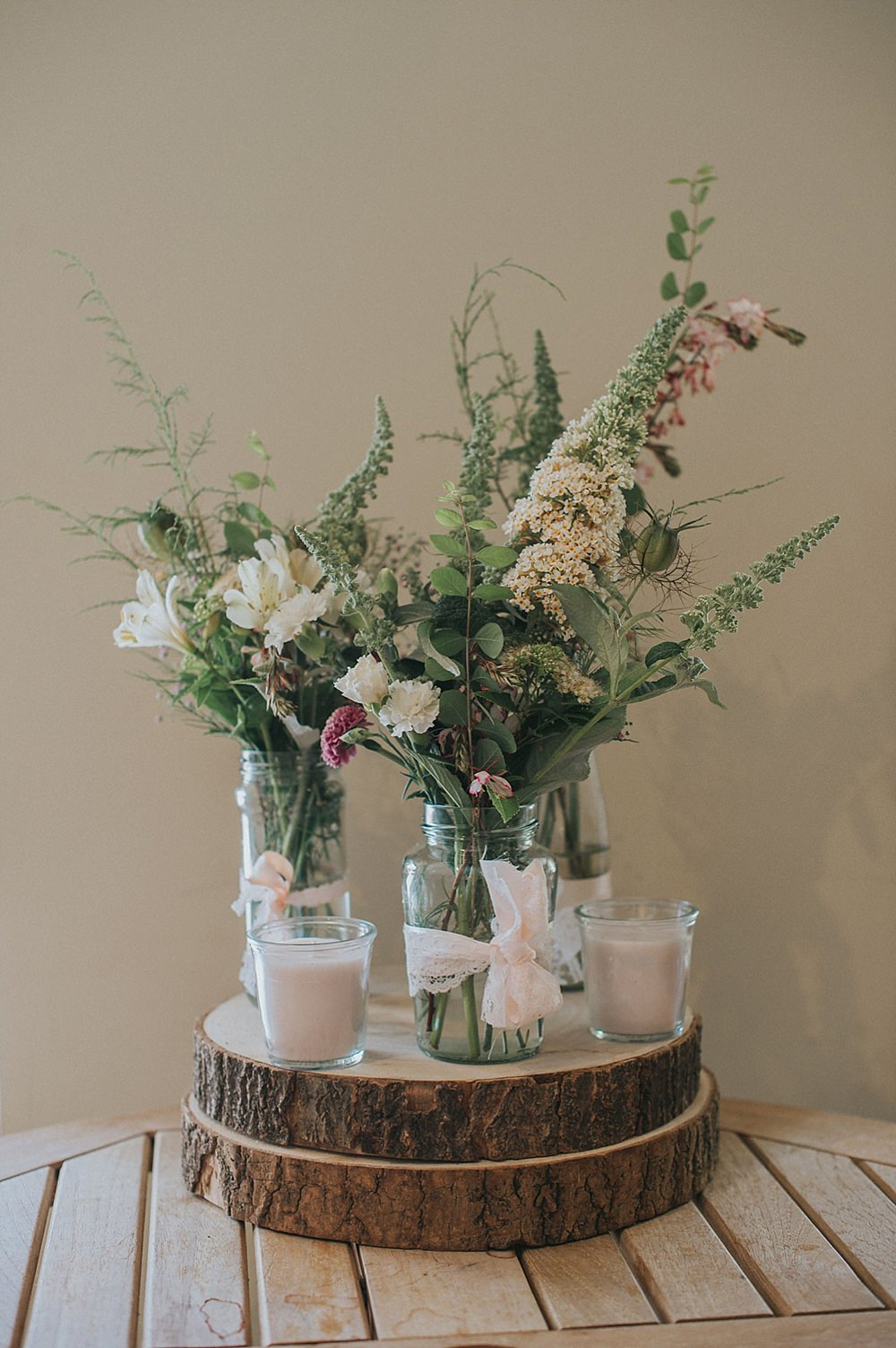Wild Flowers Log Slice Decor Jars Houchins Farm Wedding Julia and You Photography
